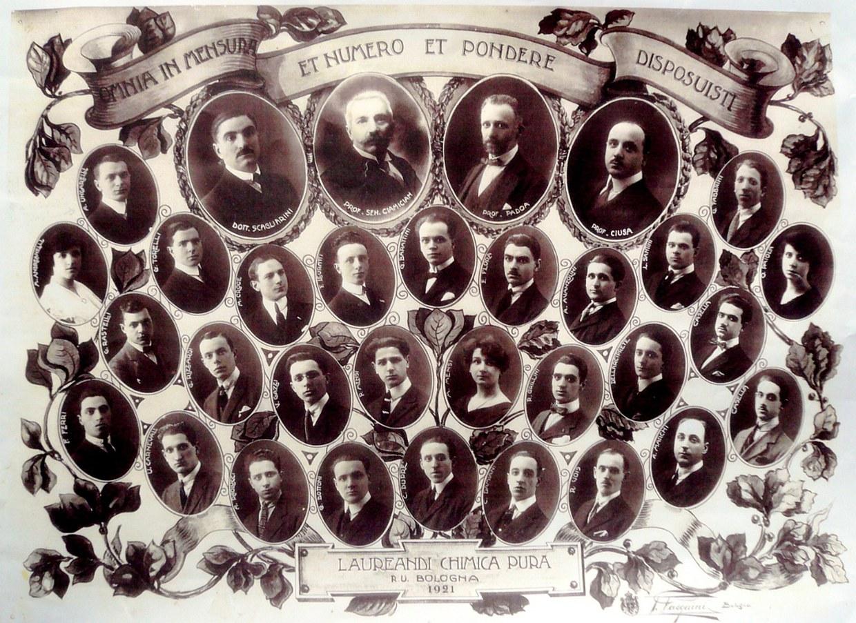 I laureati del 1921 in Chimica Pura e i loro docenti